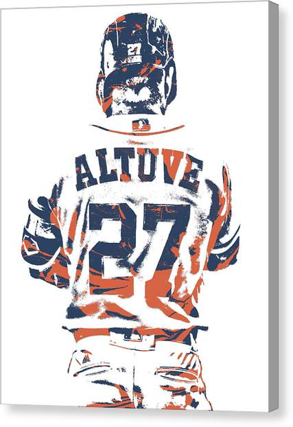 Houston Astros Canvas Print - Jose Altuve Houston Astros Pixel Art 10 by Joe Hamilton