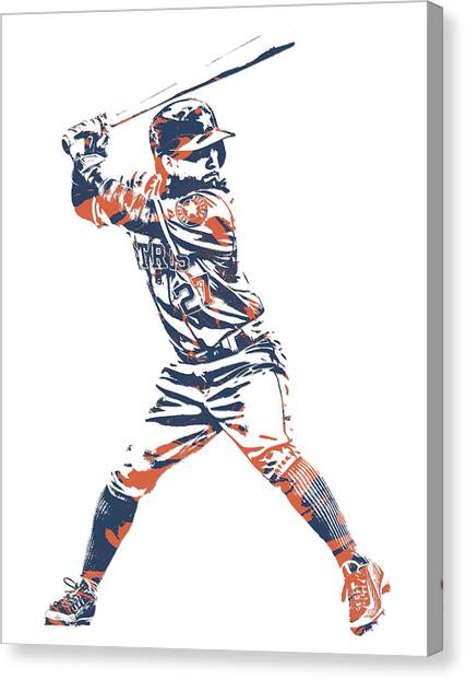 Houston Astros Canvas Print - Jose Altuve Houston Astros Pixel Art 11 by Joe Hamilton