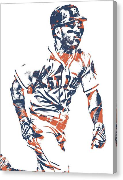 Houston Astros Canvas Print - Jose Altuve Houston Astros Pixel Art 12 by Joe Hamilton