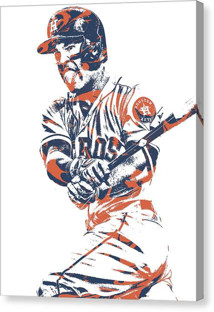 Houston Astros Canvas Print - Jose Altuve Houston Astros Pixel Art 13 by Joe Hamilton