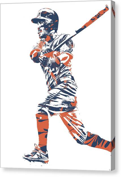 Houston Astros Canvas Print - Jose Altuve Houston Astros Pixel Art 14 by Joe Hamilton