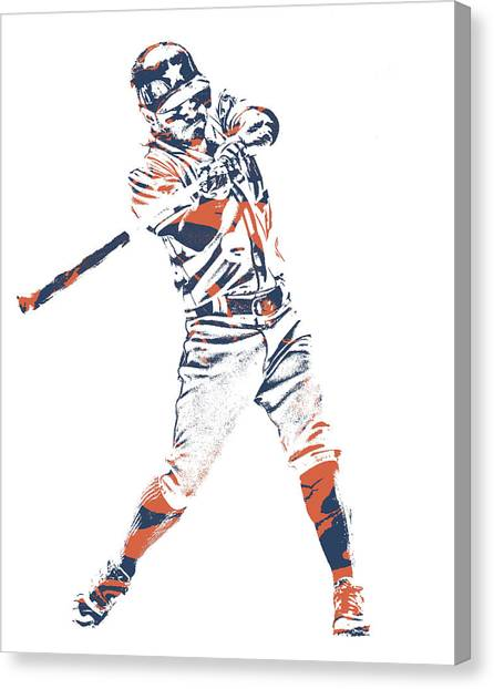 Houston Astros Canvas Print - Jose Altuve Houston Astros Pixel Art 21 by Joe Hamilton