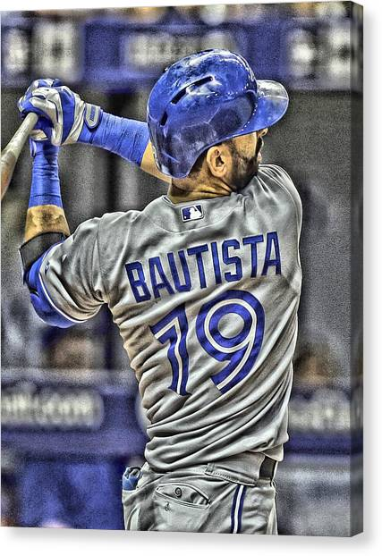 Toronto Blue Jays Canvas Print - Jose Bautista Toronto Blue Jays by Joe Hamilton