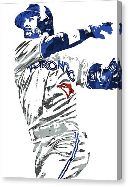 Toronto Blue Jays Canvas Print - Jose Bautista Toronto Blue Jays Pixel Art 2 by Joe Hamilton