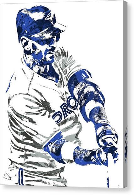 Toronto Blue Jays Canvas Print - Jose Bautista Toronto Blue Jays Pixel Art by Joe Hamilton