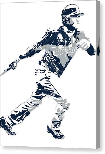 Cleveland Indians Canvas Print - Jose Ramirez Cleveland Indians Pixel Art 2 by Joe Hamilton