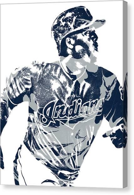 Cleveland Indians Canvas Print - Jose Ramirez Cleveland Indians Pixel Art 3 by Joe Hamilton