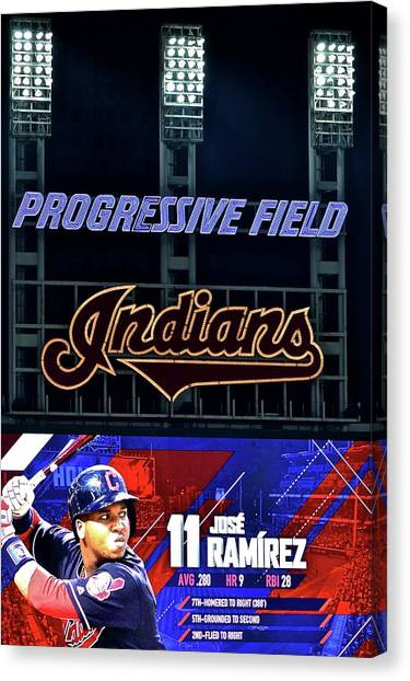 Cleveland Indians Canvas Print - Jose Ramirez by Frozen in Time Fine Art Photography