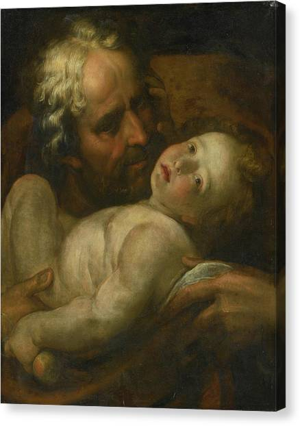 Procaccini Canvas Print - Joseph And The Infant Christ by MotionAge Designs