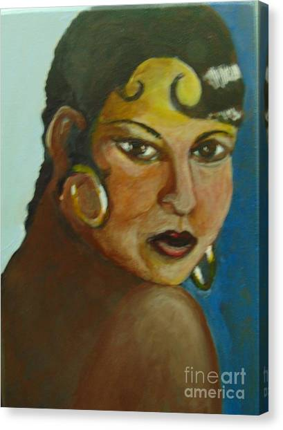 Canvas Print featuring the painting Josephine Baker by Saundra Johnson