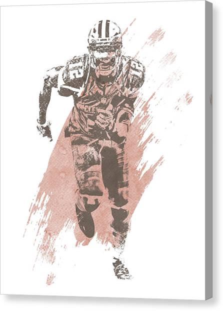 Cleveland Browns Canvas Print - Josh Gordon Cleveland Browns Water Color Art 3 by Joe Hamilton