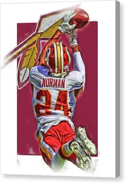 Washington Redskins Canvas Print - Josh Norman Washington Redskins Oil Art by Joe Hamilton