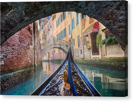 Journey Through Dreams - A Ride On The Canals Of Venice, Italy Canvas Print