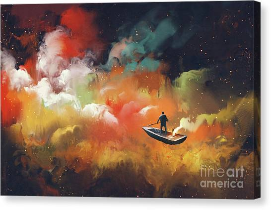 Canvas Print featuring the painting Journey To Outer Space by Tithi Luadthong