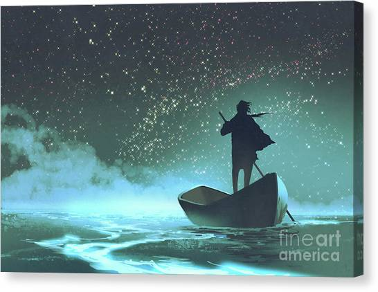 Canvas Print featuring the painting Journey To The New World by Tithi Luadthong