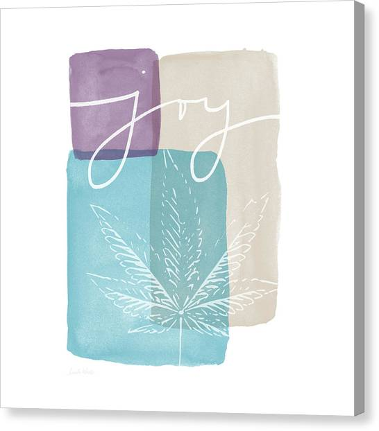 Marijuana Canvas Print - Joy Cannabis Leaf Watercolor- Art By Linda Woods by Linda Woods