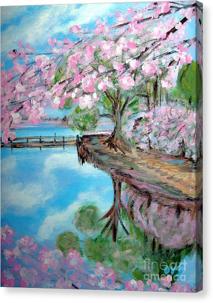 Joy Of Spring. Acrylic Painting For Sale Canvas Print