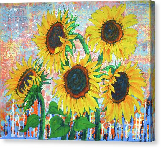 Joy Of Sunflowers Desiring Canvas Print