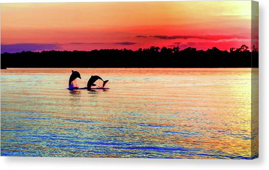 Dolphins Canvas Print - Joy Of The Dance by Karen Wiles