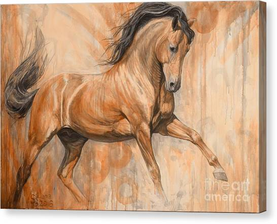 Bay Horse Canvas Print - Joyful Bay by Silvana Gabudean Dobre