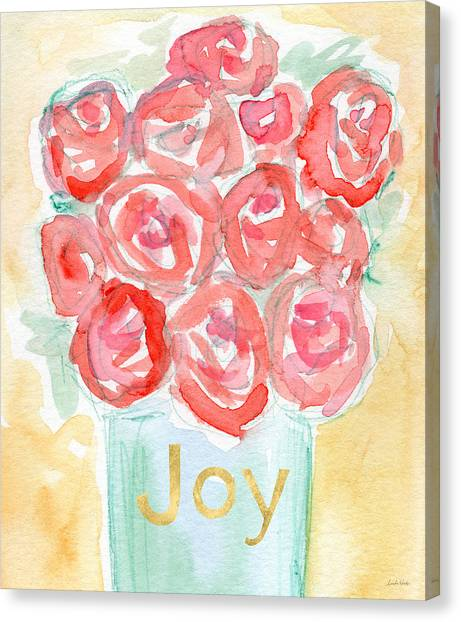 Red Roses Canvas Print - Joyful Roses- Art By Linda Woods by Linda Woods