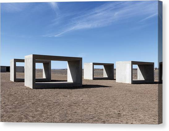 Judd's Cubes By Donald Judd In Marfa Canvas Print