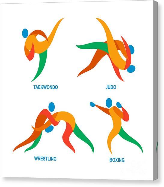 Taekwondo Canvas Print - Judo Taekwondo Boxing Wrestiling Icon by Aloysius Patrimonio