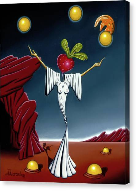 Canvas Print featuring the painting Juggling Act by Paxton Mobley