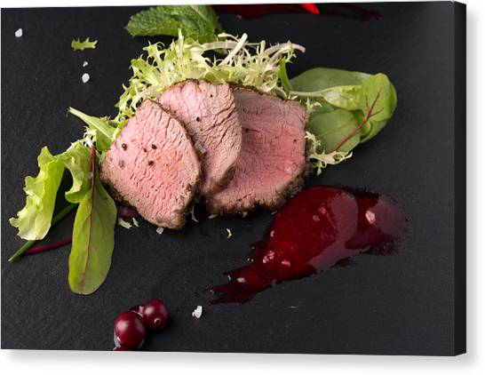 Cranberry Sauce Canvas Print - Juicy Beef Meat by Vadim Goodwill