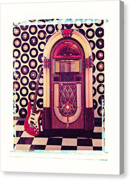 Jukebox Canvas Print - Juke Box Polaroid Transfer by Garry Gay