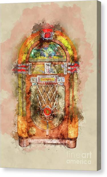 Jukebox Canvas Print - Jukebox Watercolor by Delphimages Photo Creations