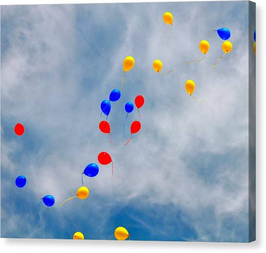 Julian Assange Balloons Canvas Print