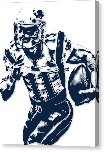 Football Canvas Print - Julian Edelman New England Patriots Pixel Art 2 by Joe Hamilton