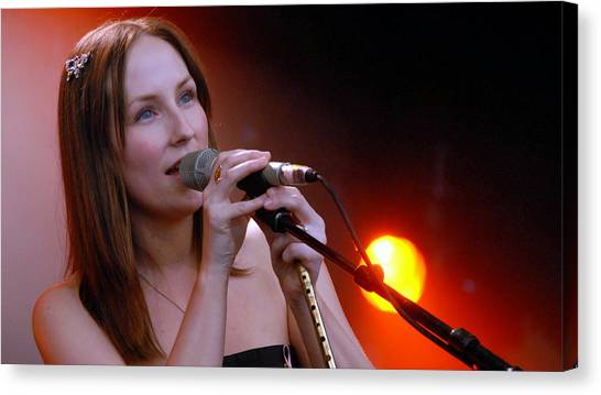 Microphones Canvas Print - Julie Fowlis by Super Lovely