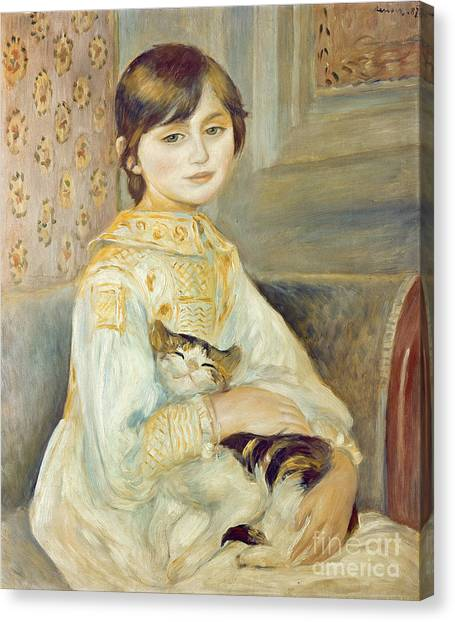 Pierre-auguste Renoir Canvas Print - Julie Manet With Cat by Pierre Auguste Renoir