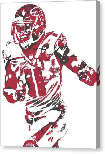 Atlanta Falcons Canvas Print - Julio Jones Atlanta Falcons Pixel Art 10 by Joe Hamilton