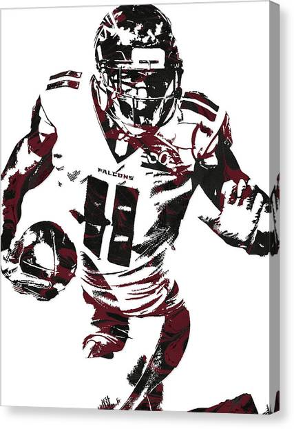 Falcons Canvas Print - Julio Jones Atlanta Falcons Pixel Art 4 by Joe Hamilton