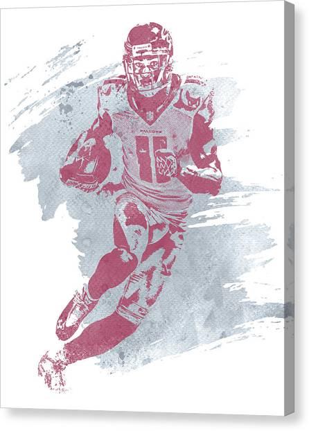 Atlanta Falcons Canvas Print - Julio Jones Atlanta Falcons Water Color Art 1 by Joe Hamilton