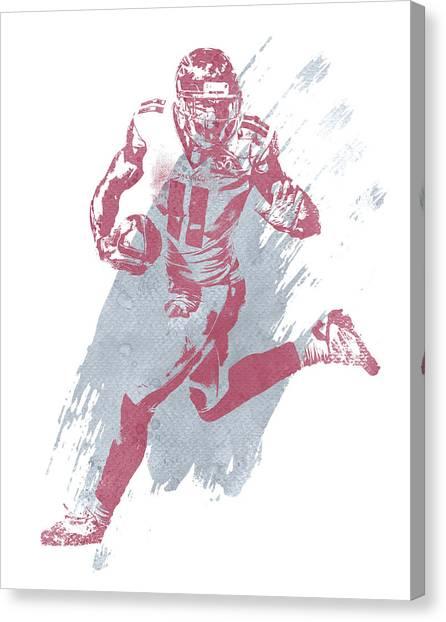 Atlanta Falcons Canvas Print - Julio Jones Atlanta Falcons Water Color Art 5 by Joe Hamilton