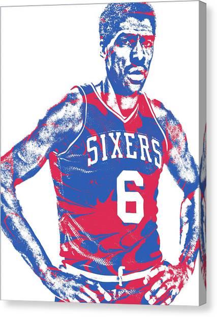Philadelphia Sixers Canvas Print - Julius Erving Philadelphia Sixers Pixel Art 1 by Joe Hamilton