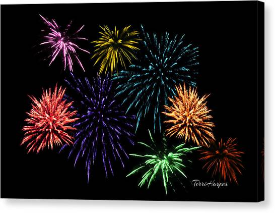 July Fireworks Montage Canvas Print