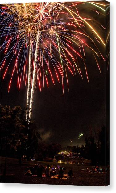 Gcc Canvas Print - July Fireworks by Tyson Kinnison