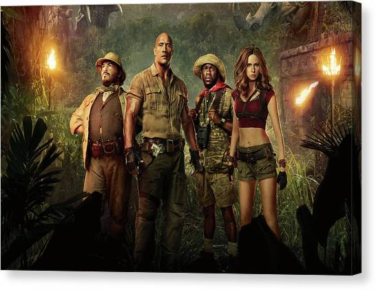 Dwayne Johnson Canvas Print - Jumanji Welcome To The Jungle 2.0 by Movie Poster Prints