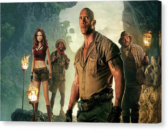 Dwayne Johnson Canvas Print - Jumanji Welcome To The Jungle by Movie Poster Prints
