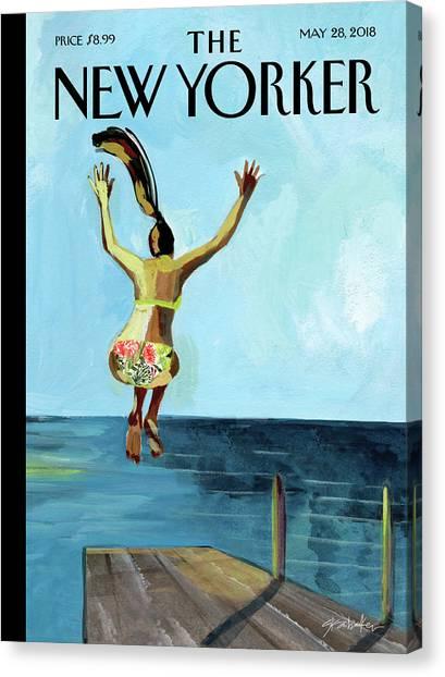Bikini Canvas Print - Jump by Gayle Kabaker