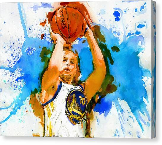 Stephen Curry Canvas Print - Jumper by John Farr