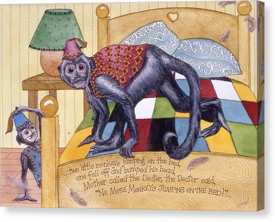 Jumpin Monkeys Canvas Print by Victoria Heryet