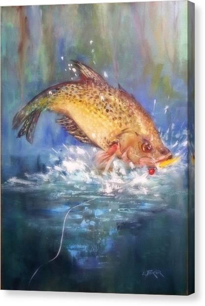 Lynn Burton Canvas Print - Jumping Crappie by Lynn Burton