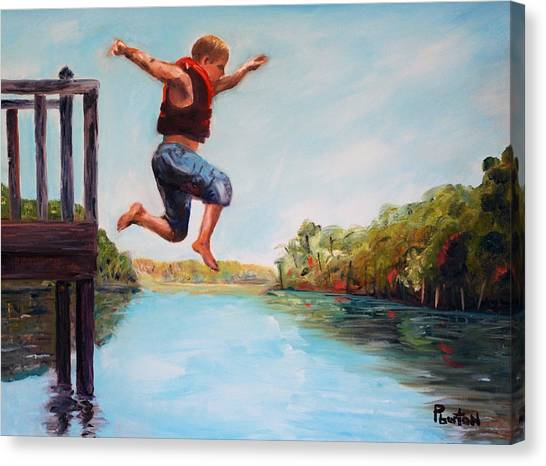 Jumping In The Waccamaw River Canvas Print
