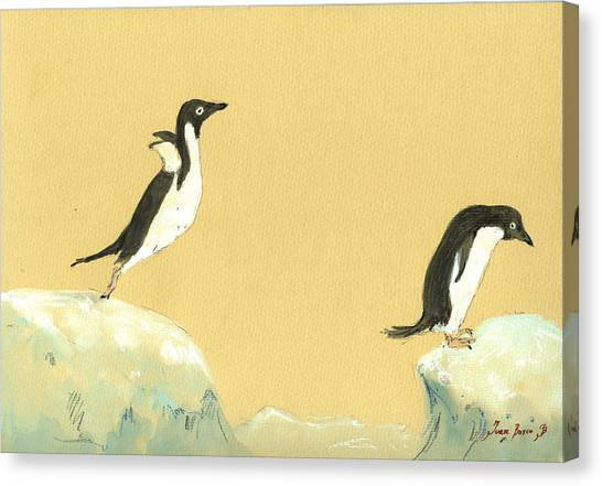 Watercolor Canvas Print - Jumping Penguins by Juan  Bosco